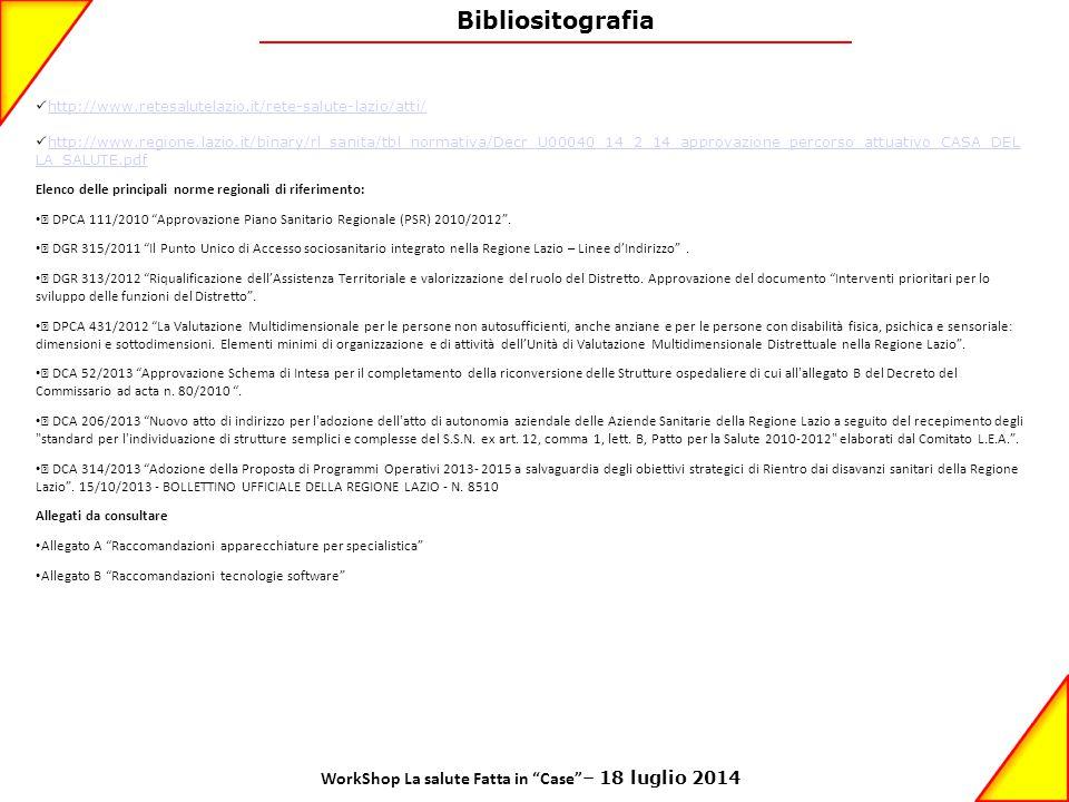 Bibliositografia http://www.retesalutelazio.it/rete-salute-lazio/atti/ http://www.regione.lazio.it/binary/rl_sanita/tbl_normativa/Decr_U00040_14_2_14_