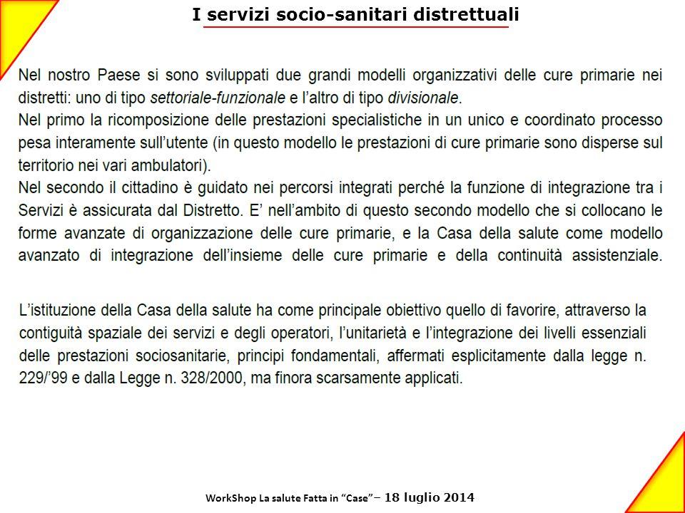 """I servizi socio-sanitari distrettuali WorkShop La salute Fatta in """"Case"""" – 18 luglio 2014"""
