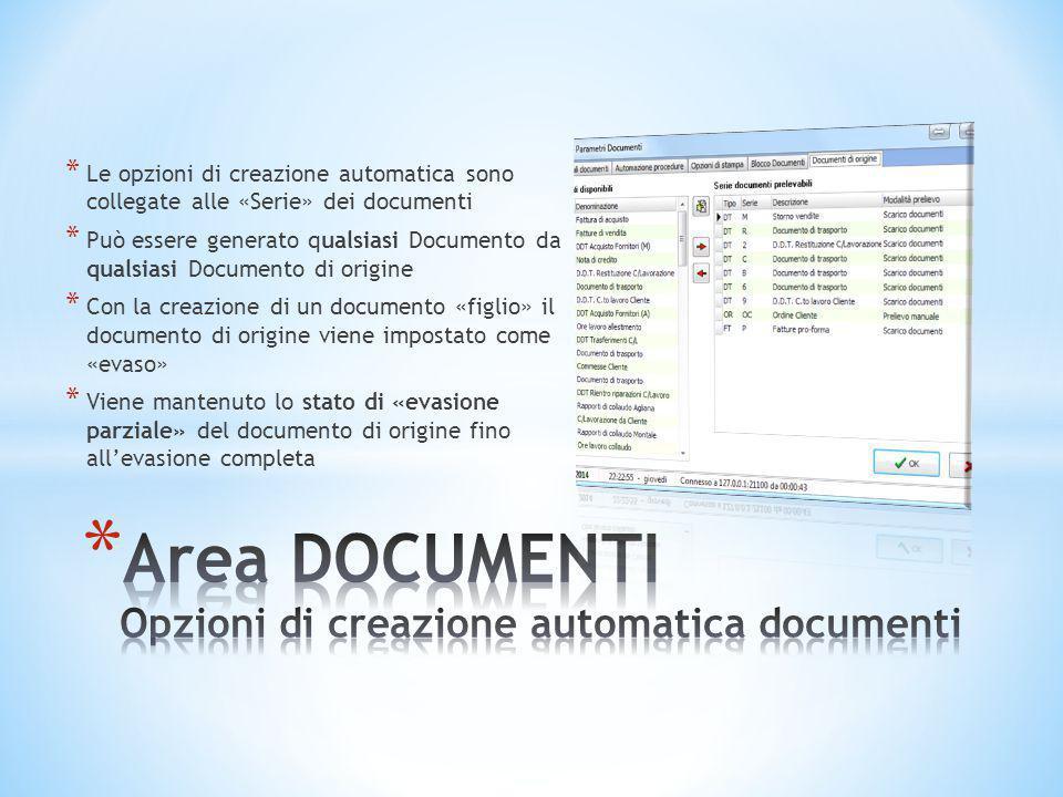 * Le opzioni di creazione automatica sono collegate alle «Serie» dei documenti * Può essere generato qualsiasi Documento da qualsiasi Documento di ori