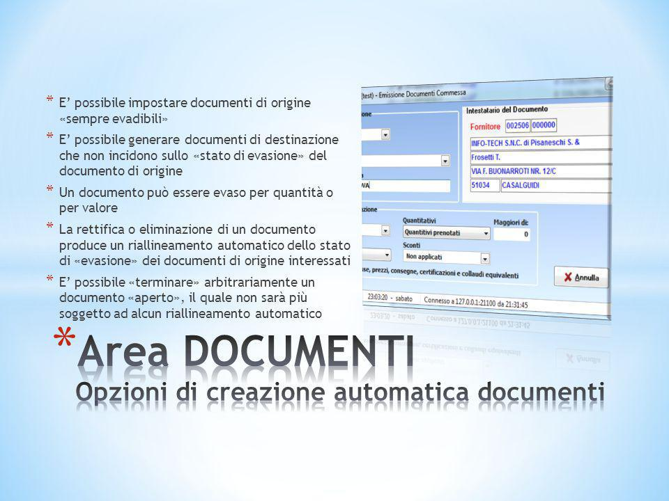 * E' possibile impostare documenti di origine «sempre evadibili» * E' possibile generare documenti di destinazione che non incidono sullo «stato di ev