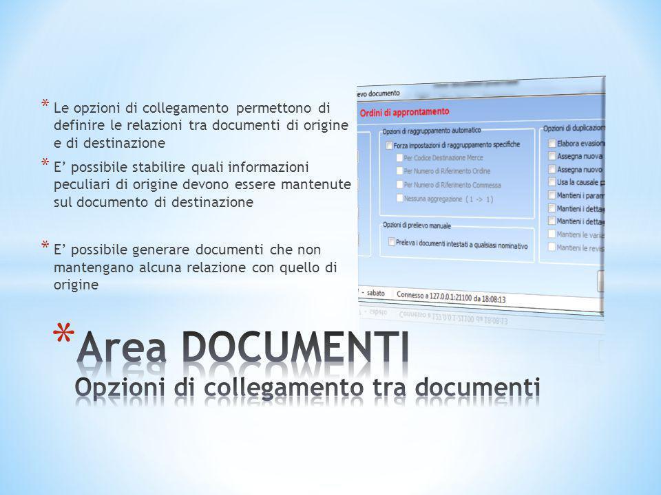 * Le opzioni di collegamento permettono di definire le relazioni tra documenti di origine e di destinazione * E' possibile stabilire quali informazion