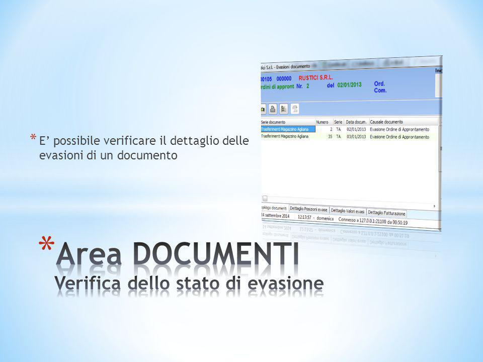 * E' possibile verificare il dettaglio delle evasioni di un documento