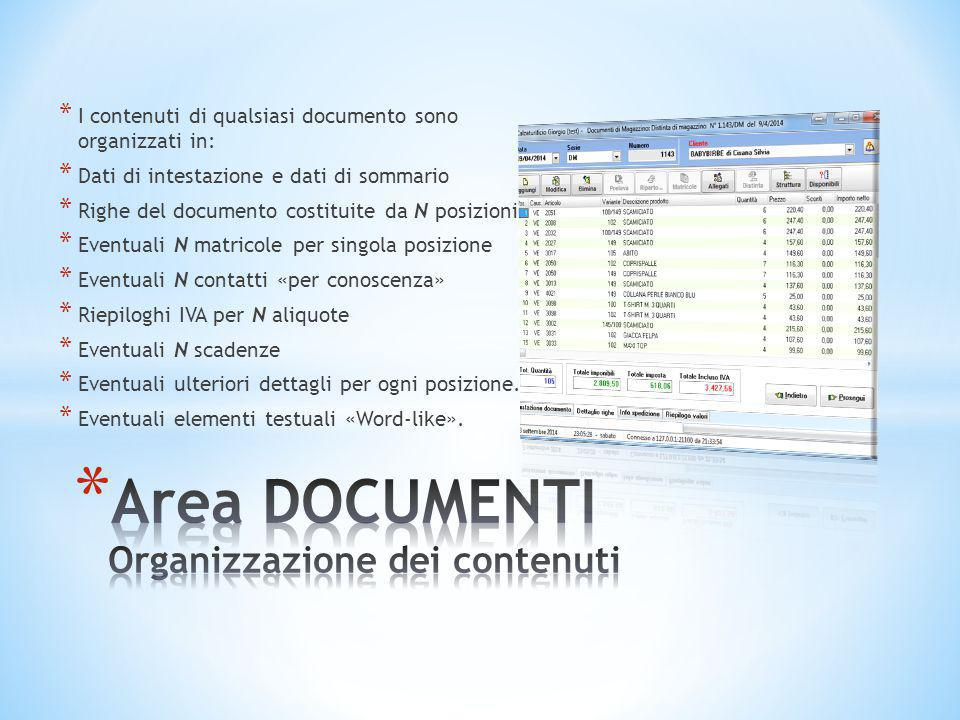 * I contenuti di qualsiasi documento sono organizzati in: * Dati di intestazione e dati di sommario * Righe del documento costituite da N posizioni *