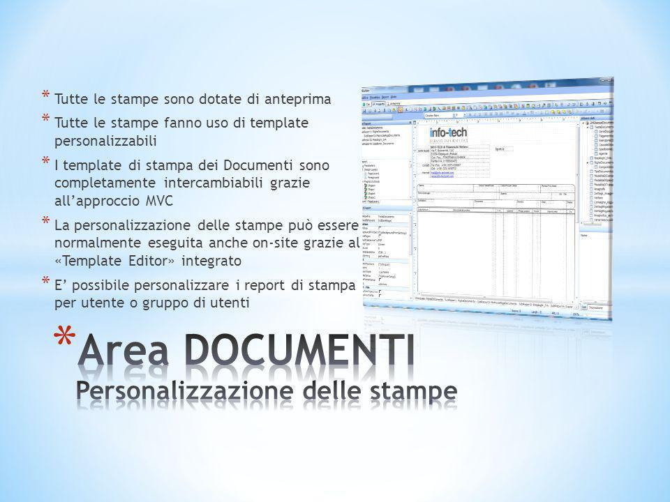 * Tutte le stampe sono dotate di anteprima * Tutte le stampe fanno uso di template personalizzabili * I template di stampa dei Documenti sono completa