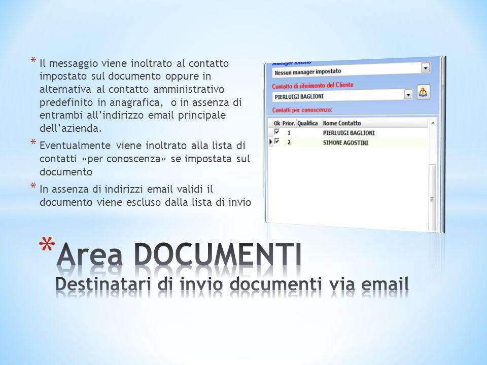 * Il messaggio viene inoltrato al contatto impostato sul documento oppure in alternativa al contatto amministrativo predefinito in anagrafica, o in as