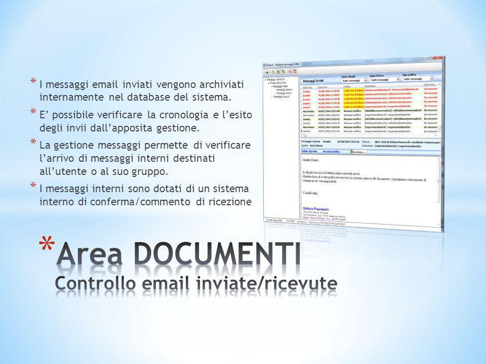 * I messaggi email inviati vengono archiviati internamente nel database del sistema. * E' possibile verificare la cronologia e l'esito degli invii dal