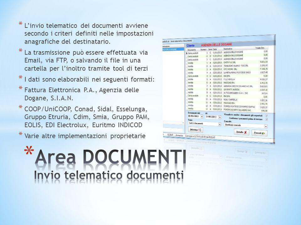 * L'invio telematico dei documenti avviene secondo i criteri definiti nelle impostazioni anagrafiche del destinatario. * La trasmissione può essere ef