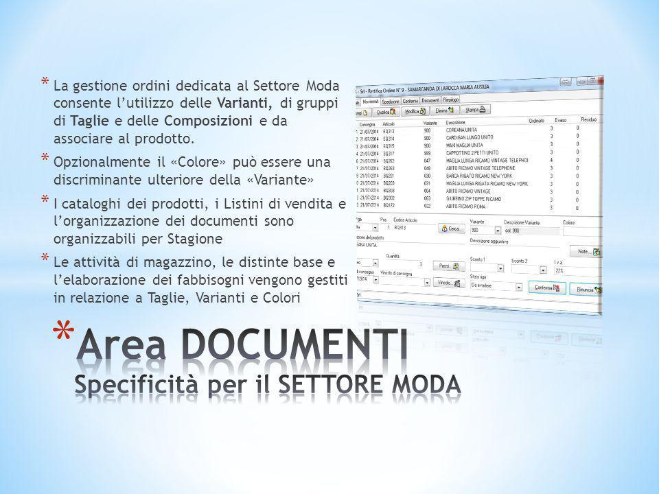 * La gestione ordini dedicata al Settore Moda consente l'utilizzo delle Varianti, di gruppi di Taglie e delle Composizioni e da associare al prodotto.