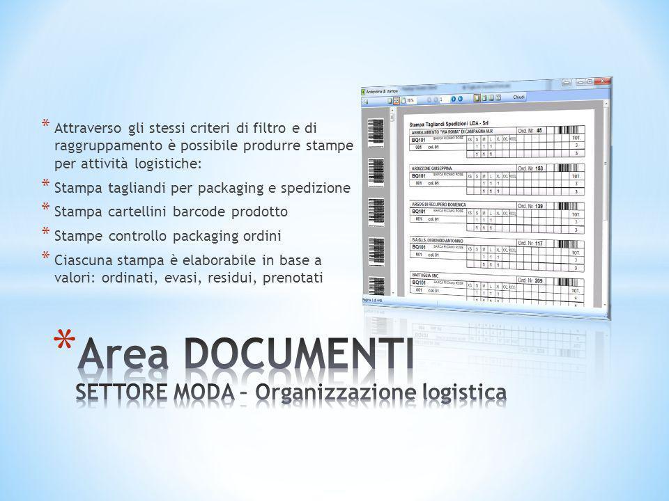 * Attraverso gli stessi criteri di filtro e di raggruppamento è possibile produrre stampe per attività logistiche: * Stampa tagliandi per packaging e