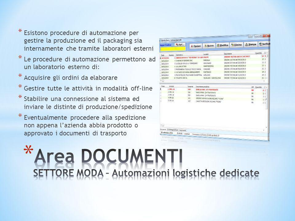 * Esistono procedure di automazione per gestire la produzione ed il packaging sia internamente che tramite laboratori esterni * Le procedure di automa