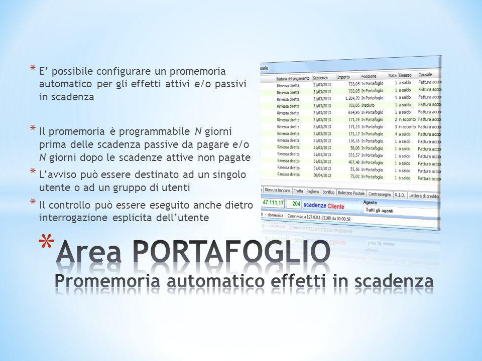 * E' possibile configurare un promemoria automatico per gli effetti attivi e/o passivi in scadenza * Il promemoria è programmabile N giorni prima dell