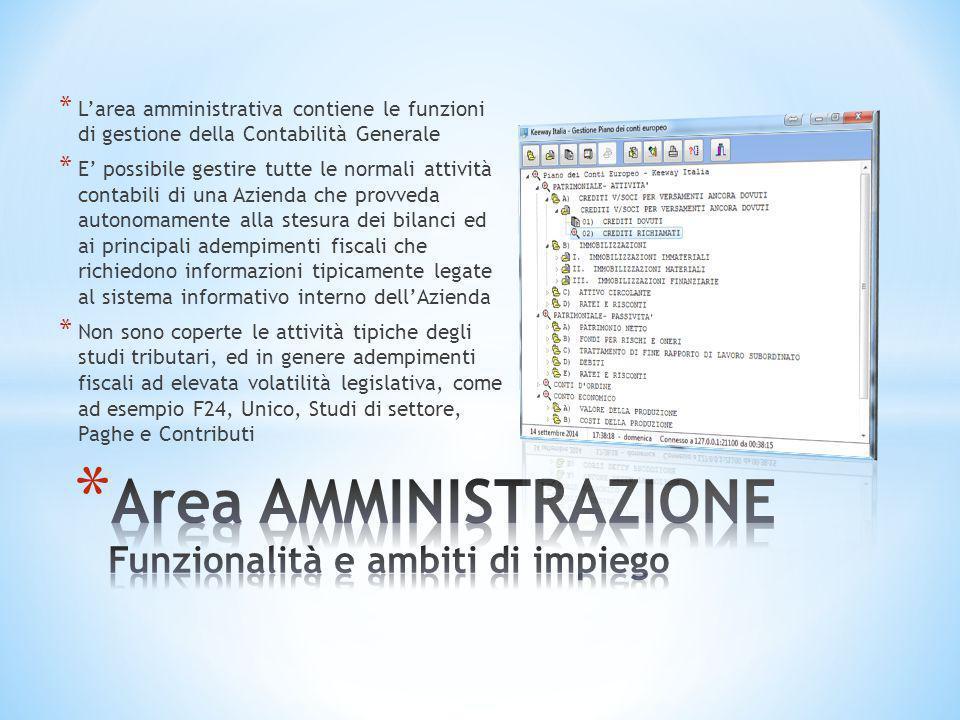 * L'area amministrativa contiene le funzioni di gestione della Contabilità Generale * E' possibile gestire tutte le normali attività contabili di una