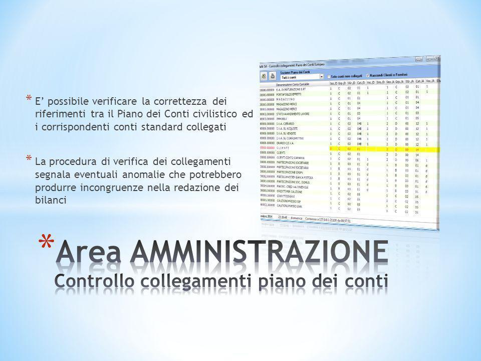 * E' possibile verificare la correttezza dei riferimenti tra il Piano dei Conti civilistico ed i corrispondenti conti standard collegati * La procedur