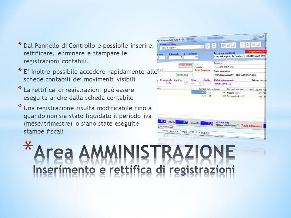* Dal Pannello di Controllo è possibile inserire, rettificare, eliminare e stampare le registrazioni contabili. * E' inoltre possibile accedere rapida