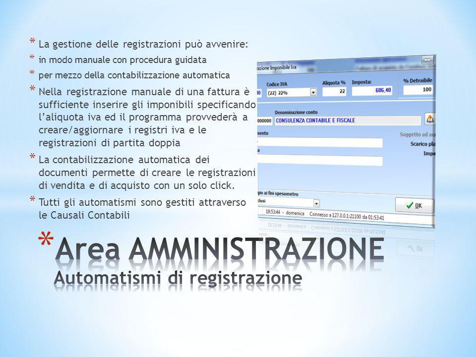 * La gestione delle registrazioni può avvenire: * in modo manuale con procedura guidata * per mezzo della contabilizzazione automatica * Nella registr