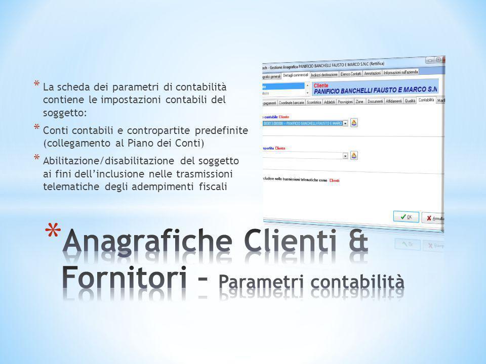 * La scheda dei parametri di contabilità contiene le impostazioni contabili del soggetto: * Conti contabili e contropartite predefinite (collegamento