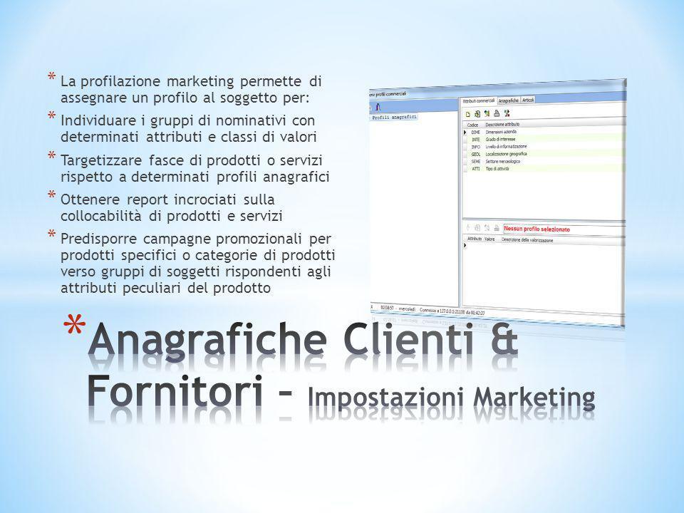 * La profilazione marketing permette di assegnare un profilo al soggetto per: * Individuare i gruppi di nominativi con determinati attributi e classi