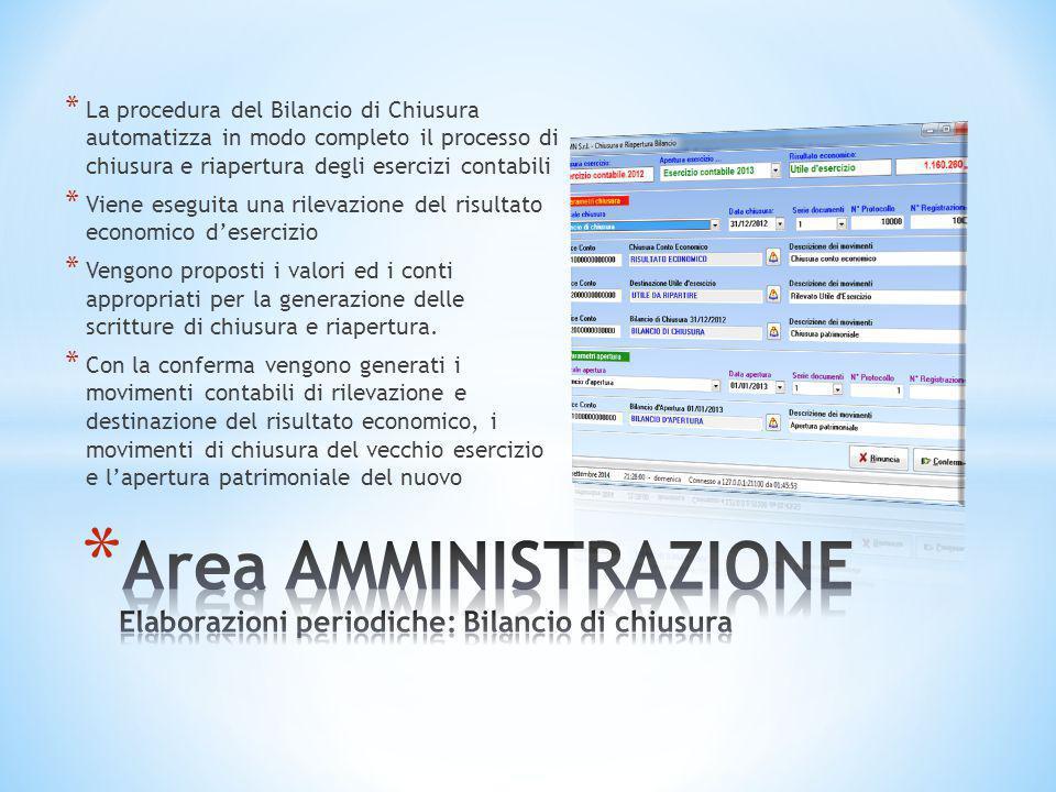 * La procedura del Bilancio di Chiusura automatizza in modo completo il processo di chiusura e riapertura degli esercizi contabili * Viene eseguita un