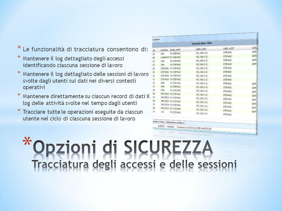 * Le funzionalità di tracciatura consentono di: * Mantenere il log dettagliato degli accessi identificando ciascuna sessione di lavoro * Mantenere il
