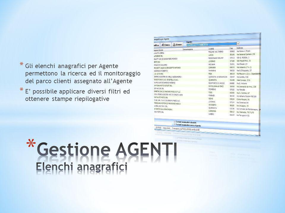 * Gli elenchi anagrafici per Agente permettono la ricerca ed il monitoraggio del parco clienti assegnato all'Agente * E' possibile applicare diversi f