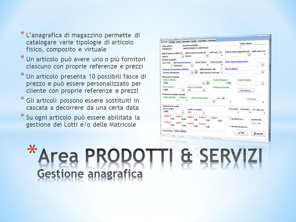 * L'anagrafica di magazzino permette di catalogare varie tipologie di articolo fisico, composito e virtuale * Un articolo può avere uno o più fornitor