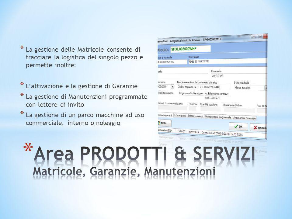 * La gestione delle Matricole consente di tracciare la logistica del singolo pezzo e permette inoltre: * L'attivazione e la gestione di Garanzie * La