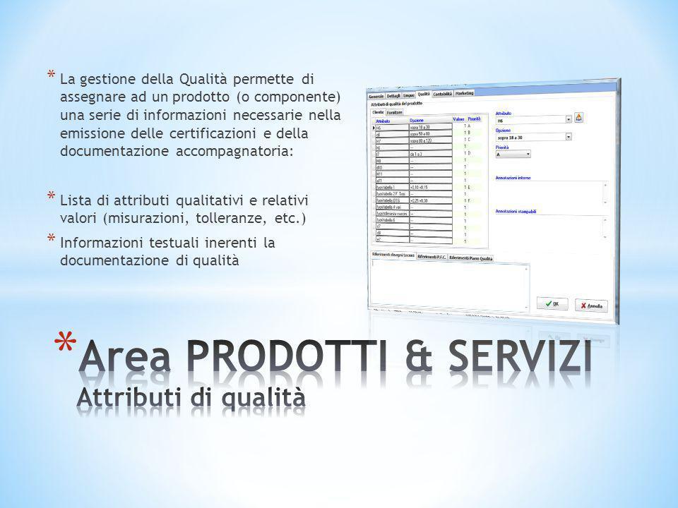 * La gestione della Qualità permette di assegnare ad un prodotto (o componente) una serie di informazioni necessarie nella emissione delle certificazi