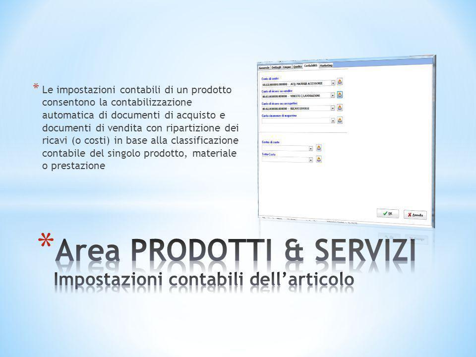 * Le impostazioni contabili di un prodotto consentono la contabilizzazione automatica di documenti di acquisto e documenti di vendita con ripartizione