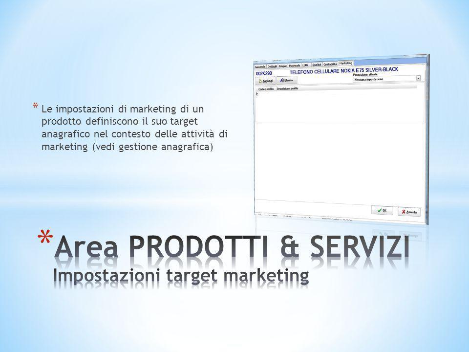 * Le impostazioni di marketing di un prodotto definiscono il suo target anagrafico nel contesto delle attività di marketing (vedi gestione anagrafica)