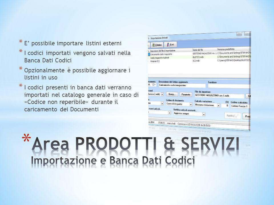 * E' possibile importare listini esterni * I codici importati vengono salvati nella Banca Dati Codici * Opzionalmente è possibile aggiornare i listini