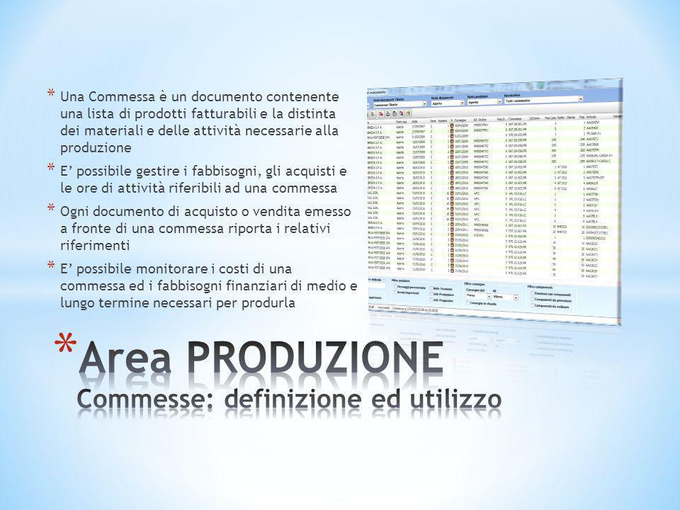 * Una Commessa è un documento contenente una lista di prodotti fatturabili e la distinta dei materiali e delle attività necessarie alla produzione * E
