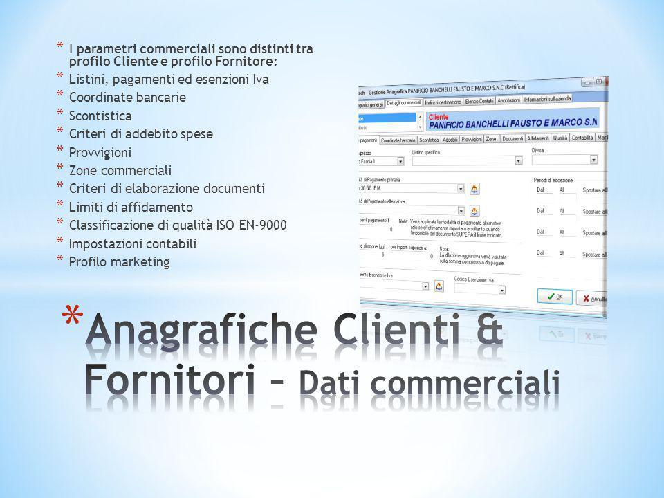 * I parametri commerciali sono distinti tra profilo Cliente e profilo Fornitore: * Listini, pagamenti ed esenzioni Iva * Coordinate bancarie * Scontis