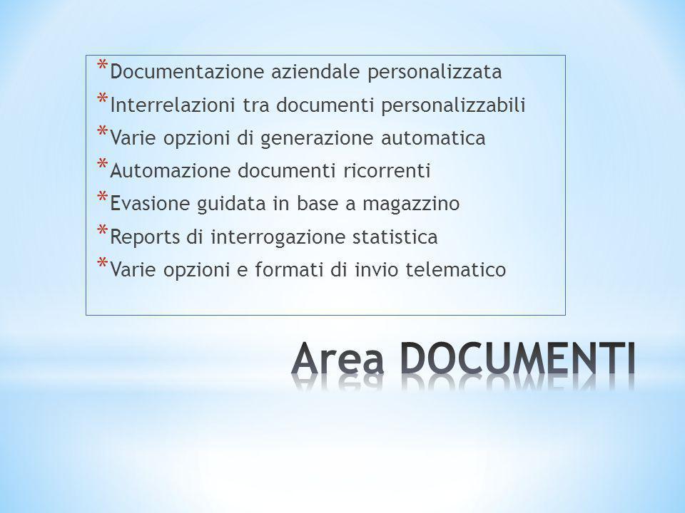 * Documentazione aziendale personalizzata * Interrelazioni tra documenti personalizzabili * Varie opzioni di generazione automatica * Automazione docu