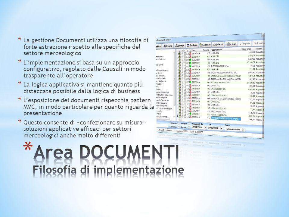 * La gestione Documenti utilizza una filosofia di forte astrazione rispetto alle specifiche del settore merceologico * L'implementazione si basa su un