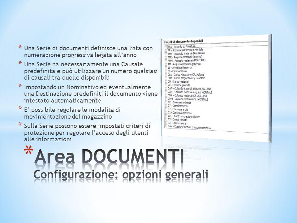 * Una Serie di documenti definisce una lista con numerazione progressiva legata all'anno * Una Serie ha necessariamente una Causale predefinita e può