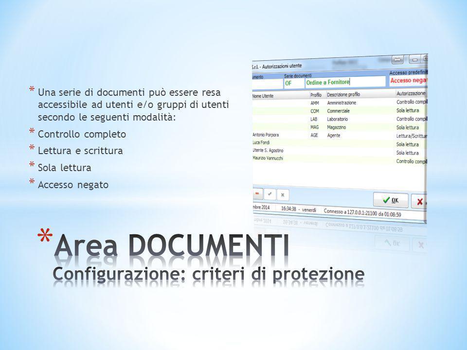 * Una serie di documenti può essere resa accessibile ad utenti e/o gruppi di utenti secondo le seguenti modalità: * Controllo completo * Lettura e scr