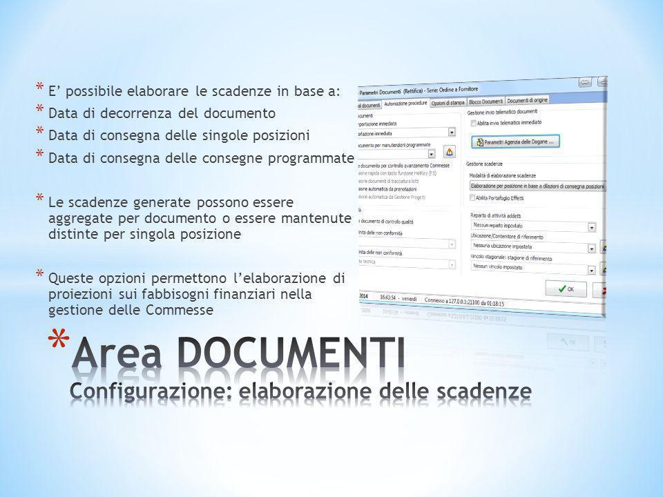 * E' possibile elaborare le scadenze in base a: * Data di decorrenza del documento * Data di consegna delle singole posizioni * Data di consegna delle