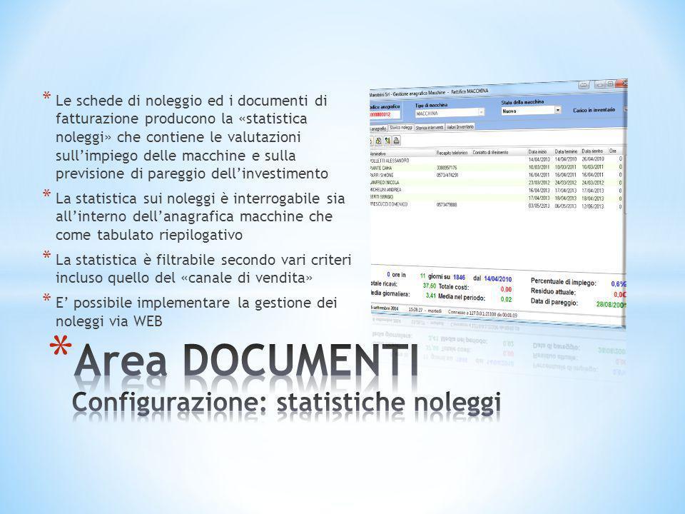 * Le schede di noleggio ed i documenti di fatturazione producono la «statistica noleggi» che contiene le valutazioni sull'impiego delle macchine e sul