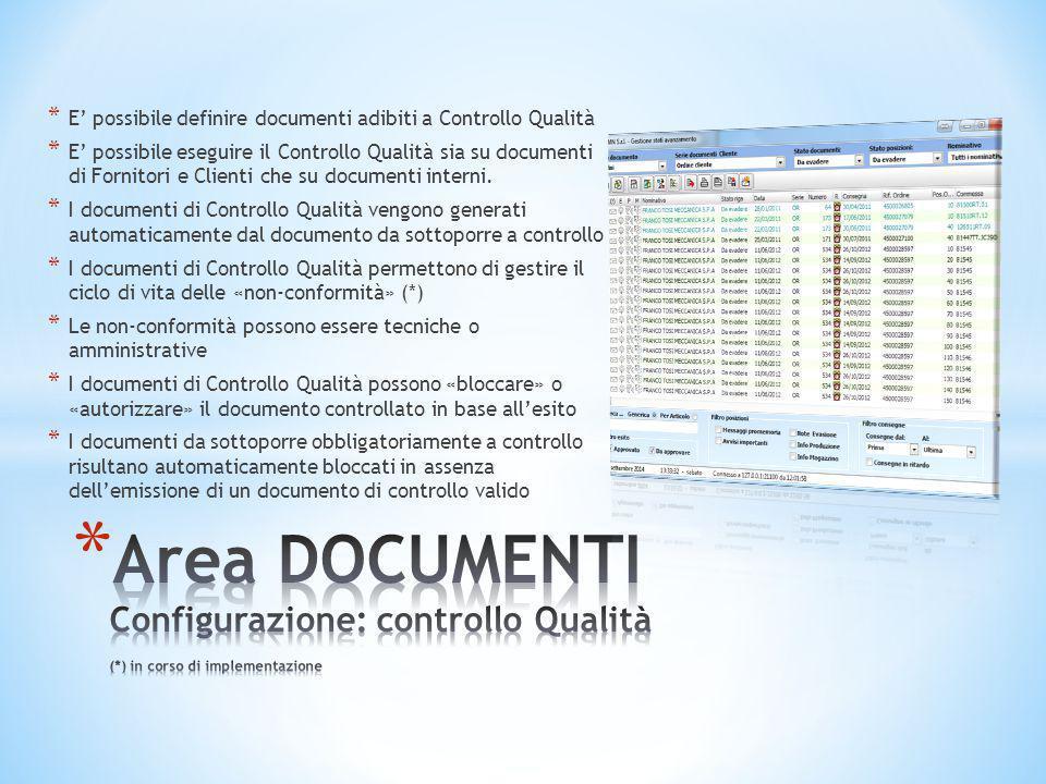* E' possibile definire documenti adibiti a Controllo Qualità * E' possibile eseguire il Controllo Qualità sia su documenti di Fornitori e Clienti che