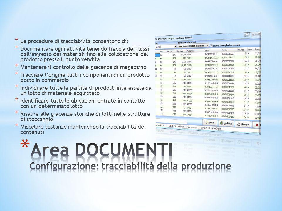 * Le procedure di tracciabilità consentono di: * Documentare ogni attività tenendo traccia dei flussi dall'ingresso dei materiali fino alla collocazio