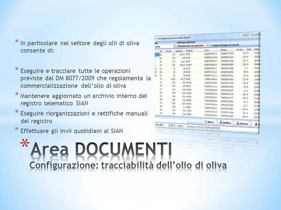 * In particolare nel settore degli olii di oliva consente di: * Eseguire e tracciare tutte le operazioni previste dal DM 8077/2009 che regolamenta la