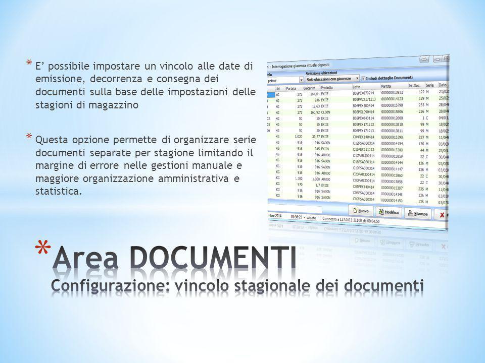 * E' possibile impostare un vincolo alle date di emissione, decorrenza e consegna dei documenti sulla base delle impostazioni delle stagioni di magazz