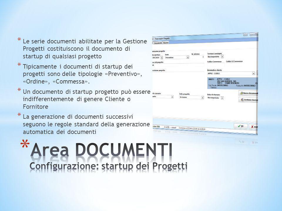 * Le serie documenti abilitate per la Gestione Progetti costituiscono il documento di startup di qualsiasi progetto * Tipicamente i documenti di start