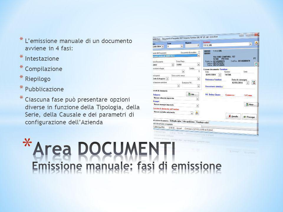 * L'emissione manuale di un documento avviene in 4 fasi: * Intestazione * Compilazione * Riepilogo * Pubblicazione * Ciascuna fase può presentare opzi