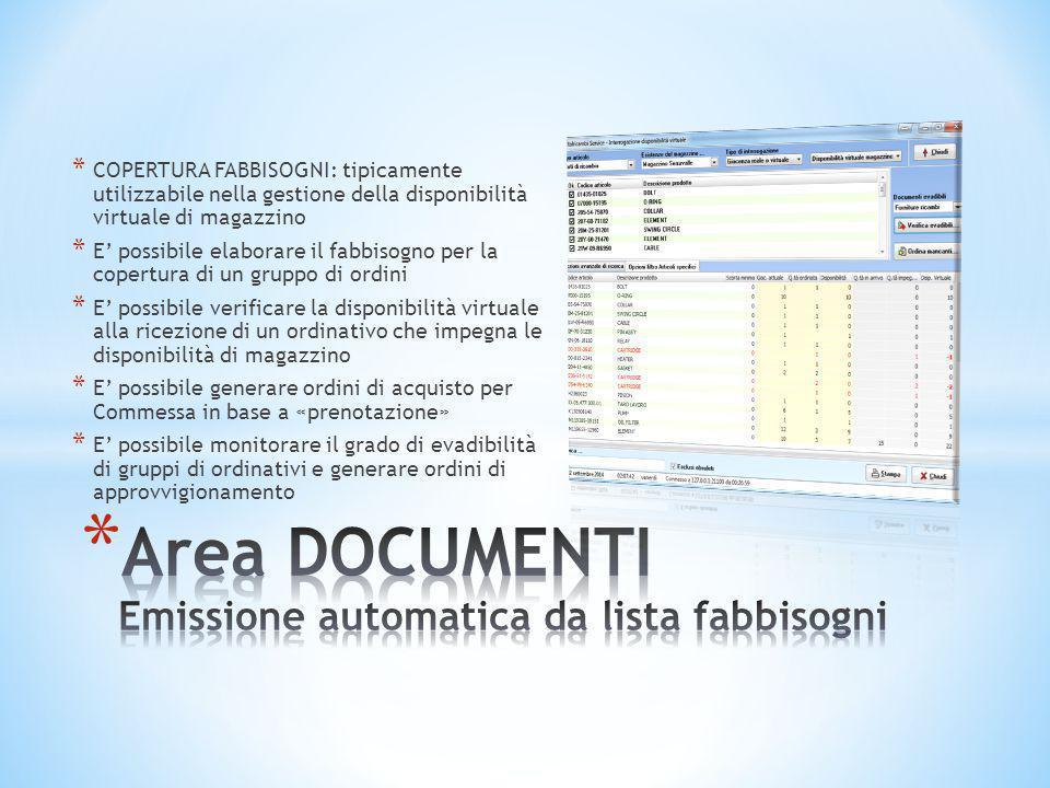 * COPERTURA FABBISOGNI: tipicamente utilizzabile nella gestione della disponibilità virtuale di magazzino * E' possibile elaborare il fabbisogno per l