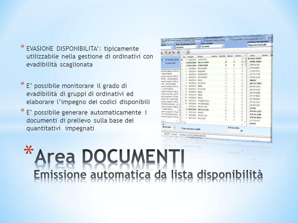 * EVASIONE DISPONIBILITA': tipicamente utilizzabile nella gestione di ordinativi con evadibilità scaglionata * E' possibile monitorare il grado di eva