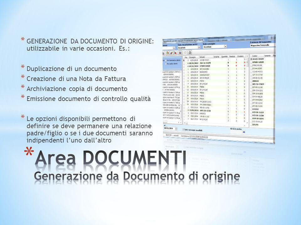 * GENERAZIONE DA DOCUMENTO DI ORIGINE: utilizzabile in varie occasioni. Es.: * Duplicazione di un documento * Creazione di una Nota da Fattura * Archi
