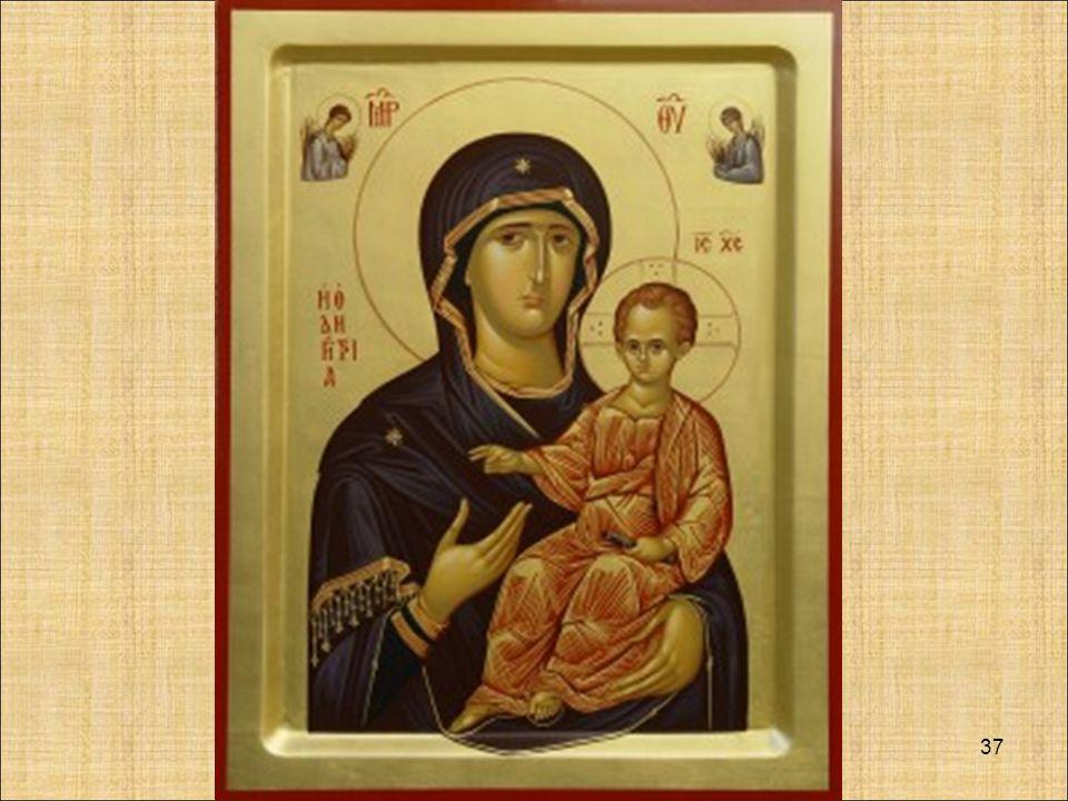 L'ICONA Maria madre della Risurrezione La mandorla dentro cui sono raffigurati Maria e Gesù è simbolo della glorificazione e dell'entrata definitiva nella vita divina, oltre che espressione della sfera celeste, indicata anche dalle stelle che ornano il perimetro interno.