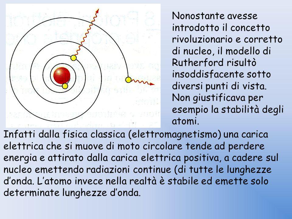 Infatti dalla fisica classica (elettromagnetismo) una carica elettrica che si muove di moto circolare tende ad perdere energia e attirato dalla carica