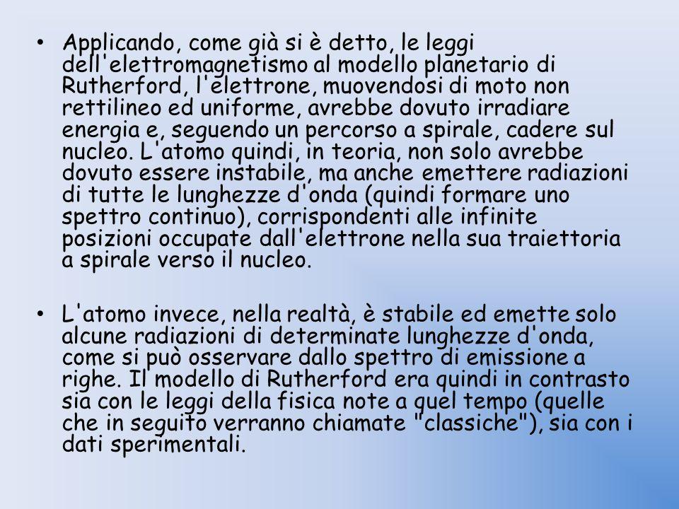 Applicando, come già si è detto, le leggi dell'elettromagnetismo al modello planetario di Rutherford, l'elettrone, muovendosi di moto non rettilineo e